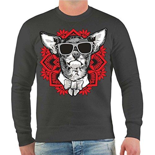 Männer und Herren Pullover Chihuahua Mandala Art Größe S - 4XL Aschgrau