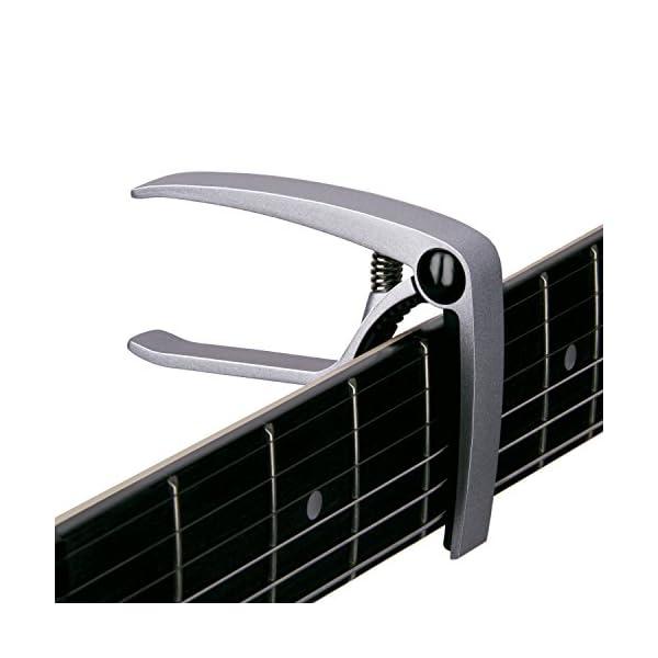 Mugig Capotasto per Chitarra, Adatto per Chitarre Acustica e Elettronica, in Lega di Alluminio Stile Molletta Facile da Usare con una Sola Mano, Molla Forte senza Vibrazione (Argento)