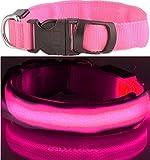 LEUCHTENDES Hunde-Halsband, Größe: S (35-43cm / 2,5cm breit), Farbe: PINK, mit Klickverschluß. LED's leuchten und blinken im Dunkeln.