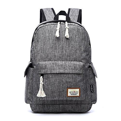 Wewod Junge Oxford Tuch Schultasche Multi-Taschen Mädchen Atmungsaktiv Rucksack mit Einzigartiges Geflochtenes Seildesign 15.6 Zoll Laptop 30*47*15 cm