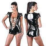 NEIYI Frau Sexy Lackleder Unterwäsche Kostüm Katzenfrau Latex Catsuit PVC Body Overall Clubkleidung, One Size