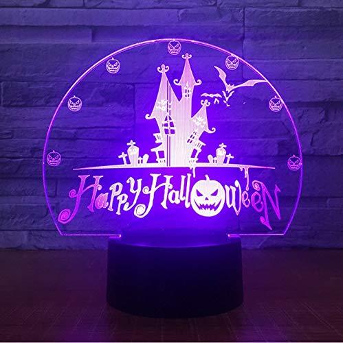 Happy Halloween 7 Farben Usb Visuelle Schloss Fledermäuse Nachtlicht Schreibtischlampe 3D Led Wohnkultur Urlaub Dekor Leuchten Kinder Geschenke