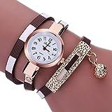 vovotrade Moda encanto de las mujeres abrigo alrededor de cuero artificial de cuarzo reloj de pulsera (marrón)