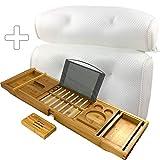 MAEY 1x Badewannen Ablagen aus Bambus + 1x Badewannenkissen mit 6 Saugnäpfen |Badezubehör |Badewannenablage |Badewannenbrett| Kissen Badewanne |Bad