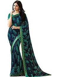 Calendar Women's Georgette Blue & Rama Color Saree With Unstitch Blouse Piece(Blue & Rama)