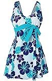 Hungo Damen Push Up Badeanzug Schwimmanzug Badekleid Einteiler mit Röckchen