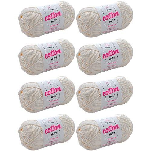 MyOma Baumwolle Wolle Cotton Pure Perlmutt (Fb 0102)* Baumwollgarn zum Stricken + GRATIS Anleitung - 8 Knäuel Natur weißes Baumwollgarn/Baumwolle Natur - 50g/125m - Nadelstärke 2,5-3,5mm