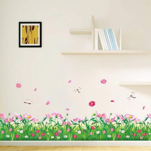 GZZQTT Rosa Blumen Gras Baseboard Wand Aufkleber Gras Anlage Grenze Tapete Hause Schlafzimmer Kindergarten Party Dekoration Wohnzimmer Decals