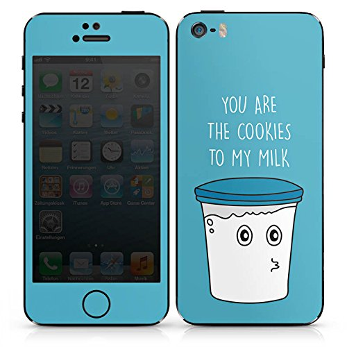 Apple iPhone SE Case Skin Sticker aus Vinyl-Folie Aufkleber Sprüche Milk & Cookies Blau DesignSkins® glänzend