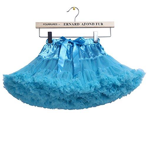 Falda de tutú de la bailarina de la enagua de Tulle de las niñas de 5-7 años / M, azul claro