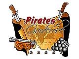 GRAZDesign 971019_57_ST_H5 Wandsticker Garderobe mit 5 Haken Wandhaken für Kinderzimmer Piraten Karte Kugel (63x57cm)