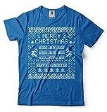 Silk Road Tees Witzige Männer-Weihnachten Popular Culture Film-Zitat-T-Shirt Glückliches Chanukka Frohe Weihnachten T-Shirt Large Blau