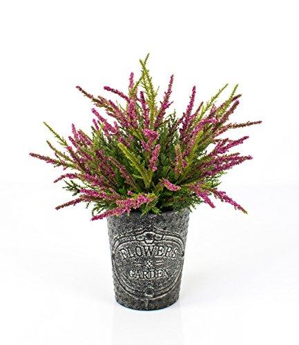 artplants Set 2 x Künstliche Erika im Metalltopf, pink, 32 cm, Ø 25 cm – Kunstpflanze im Topf/Heidekraut künstlich