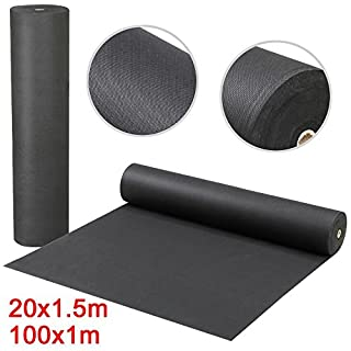 Popamazing 50g Heavy Duty Weed Control Fabric Ground Cover Membrane Landscape Fabric 20M x 1.5M