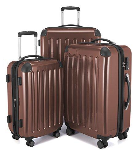HAUPTSTADTKOFFER - Alex -  4 Doppel-Rollen 3er Koffer-Set Trolley-Set Rollkoffer Reisekoffer, TSA, (S, M & L), Braun