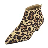 chaussures femme Bottines Chelsea à Talon, Manadlian Bottes Décontractées à Bout Pointu à Léopard Femmes Bottes Moyen Bottes Boots Bottes Bottines...