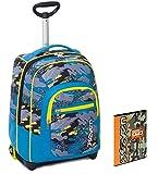 Trolley Seven Child + Folder A4 - Camuflaje azul claro amarillo - ¡Correas retráctiles para los hombros! Mochila de viaje y escuela 35 LT - Idea de regalo de Navidad