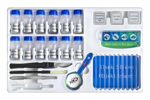 Bresser Junior Experimentier-Set zum Einstieg in die Mikroskopie mit Objektgläsern, Lupe, Mikroskopierbesteck, Garnelenbrutanlage und verschiedenen Präparaten
