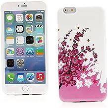 "Kit Me Out ES Funda de Gel TPU para Apple iPhone 6 Plus 5.5"" pulgadas - Blanco / Rosa Flores"