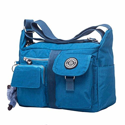 Crossbody Taschen Damen Wasserdichte Nylon Messengertaschen Umhängetasche Schultertaschen Casual Handtasche Handtaschen für Frauen Herren - Navy Blau (Stoff-handtaschen Natürliche)