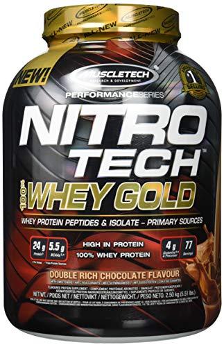 MuscleTech NitroTech Whey Gold, 100% Reines Whey, Double Rich Schokolade, 2510 g -