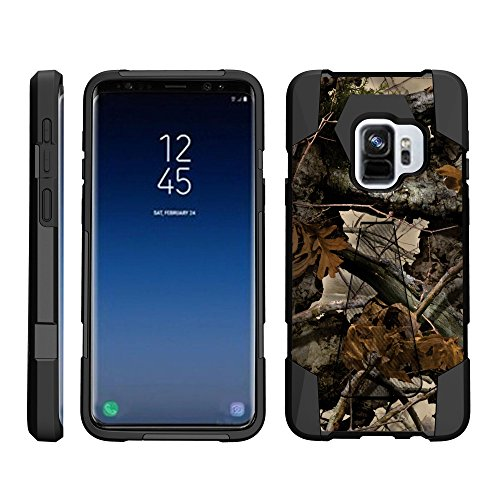 TurtleArmor Schutzhülle für Samsung Galaxy S9+ / S9 Plus Hülle - Dynamic Shell - Hybrid Dual Layer Hard Shell Stand Silikon Case -, Tree Leaves Camouflage (Virgin Mobile 4g-handys)
