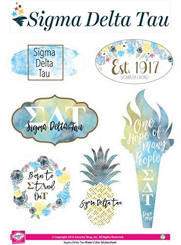 Sigma Delta Tau-Aufkleber Blatt-Watercolor Thema - Sorority Delta Geschenke Delta Delta