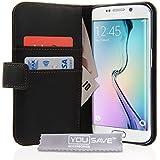 Yousave Accessories Coque Samsung Galaxy S6 Edge Etui Noir PU Cuir Portefeuille Housse