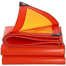 Lonas DUO impermeables de servicio mediano   Cubierta de remolque de tienda de campaña   Lona grande en varios tamaños 210g/m² -0.38mm (Color : RED+YELLOW, Tamaño : 5 x 6m)
