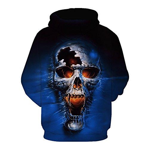 Schädel Hoodie Unisex: glücklich, 3D Print Skelett, Schädel, Horror, Tattoo Design Style X6