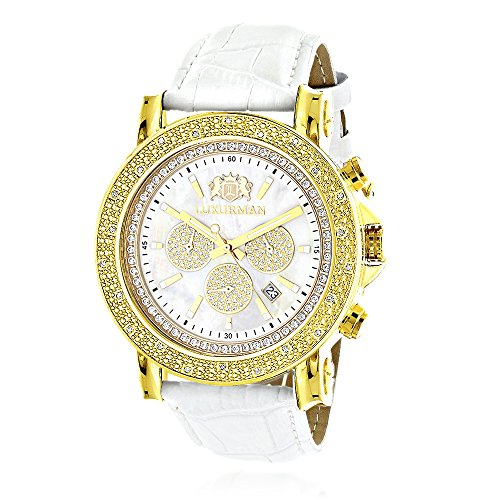 Large Luxurman Mens Watch with Diamonds 0.25ct Yellow Gold Plated White MOP Escalade with Leather Band