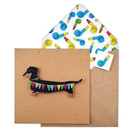 Tache TC88 Premium Handmade Dachshund Bunting Birthday Card