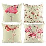 Luxbon 4er Set Tropisch Pink Flamingos Vogel dauerhaft Leinen Kissenbezüge Sofakissen Cafe Garten Haus Deko 45x45 cm 18x18 ''