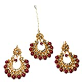 #9: Jewels Kafe Wedding Bridal Stone Kundan Pearl Drop Mang (Maang) Tikka (Tika) With Earrings Set For Women & Teenage Girls