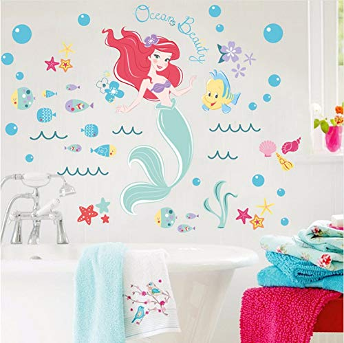 Kyzaa Cartoon Meerjungfrau Prinzessin Wandaufkleber Für Badezimmer Mädchen Zimmer Dekoration Film Wandbild Art Diy Home Decals Kinder Geschenk Wandtattoos