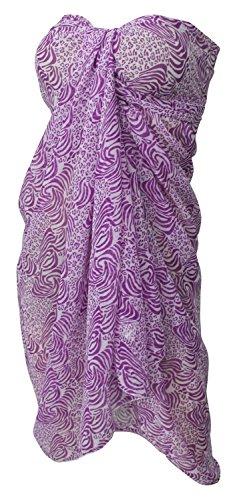 La Leela schiere Chiffon Tiger Haut gedruckt schwimmen hawaiische Sarong vertuschen Violett