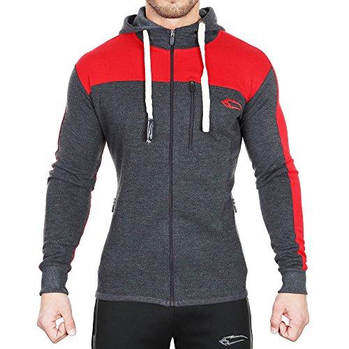 SMILODOX Slim Fit Kapuzenpullover Herren | Zip Hoodie für Sport Fitness Training & Freizeit | Trainingsjacke - Sportpullover - Sweatjacke mit Reißverschluss Anthrazit / Rot