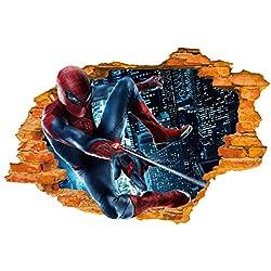 Etiqueta de la pared (Superhero Spiderman Flying In) - pared roto / hoyo en la pared / pared destrozada 3D Look - decoración de pared para dormitorio / sala de estar / Kids Room - Pelar y pegar Bricolaje - autoadhesivo vinilo Decal