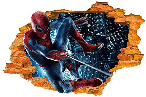 (Wandaufkleber (Superheld Spiderman Flying In) - Gebrochene Wand / Loch in der Wand / Smashed Wall 3D Look - Wanddekor für Schlafzimmer / Wohnzimmer / Kinderzimmer - schälen und haftenk mach es selbst - Selbstklebendes Vinyl Abziehbild)