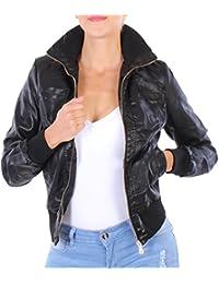 BD Damen Jacke Lederlook Lederjacke Bikerjacke in schwarz