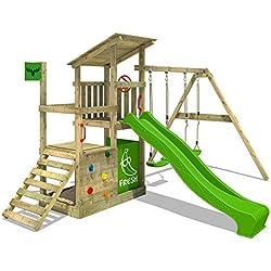 FATMOOSE Torre de escalada FruityForest Fun XXL Parque infantil Casa de playa en 3 niveles con con techo de madera inclinado, columpio con 2 asiento de columpio y tobogán