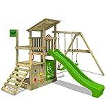 FATMOOSE Portique bois FruityForest Fun XXL Aire de jeux sur 3 niveaux le cabanon de plage fruité avec toit incliné en bois, portique de balançoire avec deux sièges, toboggan et beaucoup d'accessoires