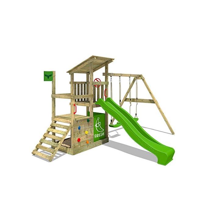 FATMOOSE Spielturm FruityForest Fun XXL Klettergerüst Kletterturm auf 3 Ebenen im Hochsitz-Style mit schrägem Holzdach…