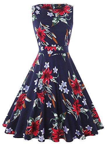 IHOT Elegant Damen 50s Retro Vintage Rockabilly Kleid Partykleider Cocktailkleider (XL, Dunkelblaue...