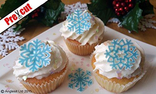 Deko in Schneeflocken-Design, Essbares Waffel-/Reispapier, für Geburtstag Weihnachten Party Hochzeit; Dekoration (Backen Geburtstag Party-orte)