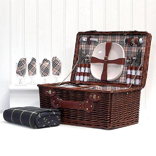 Deluxe Weiden Picknickkorb 'Bromley' für 4 Personen Mit Integriertem Kühlfach Und Picknickdecke - Die Ideale Geschenkidee zum Geburtstag, Hochzeit, Ruhestand