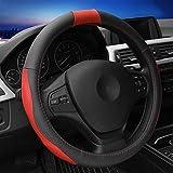 GH Coprivolante Per Auto Vera Pelle Four Seasons Universal Copri Manubrio Slittata Indossare 38CM,Red