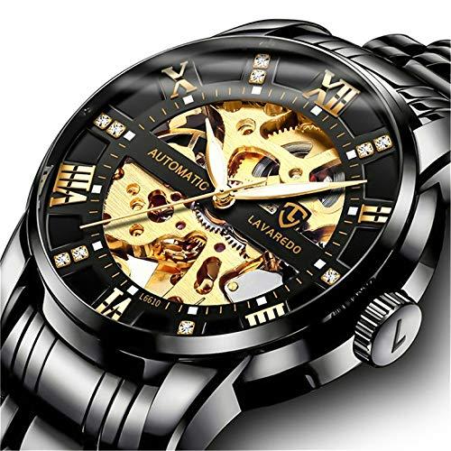 Relojes, Relojes Hombre Negro Mecánico Automático Esqueleto de Estilo Clásico...