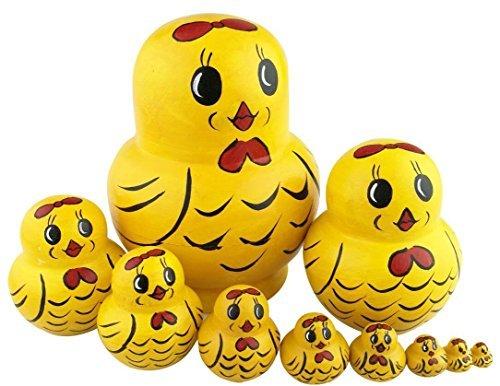 Set von 10 Tierthema Stapeln Spielzeug Russischen Puppe Handgefertigt Spielzeug aus Holz Panda Eule Pinguin Ente Küken Affe Löwe für Kinder Kinderzimmer Decor (Küken)