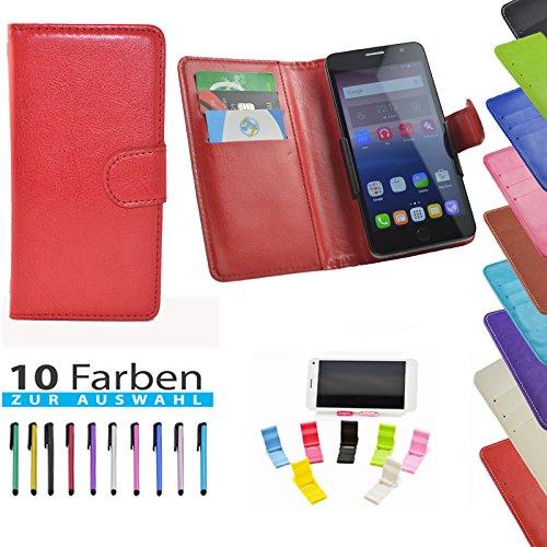 5 in 1 set ikracase Hülle Slide Handyhülle für Medion Life E5008 Smartphone Hülle Tasche Case Cover Schutzhülle Handytasche Etui in Rot